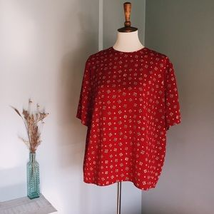 80's vintage red & yellow patterned blouse top